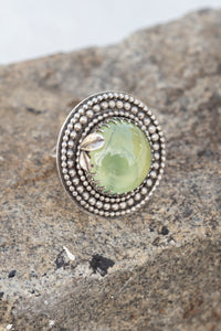 Prehnite & Sterling Silver Ring