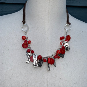 Coral (Red) Leather Adjustable Length Charm Necklace