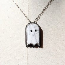 Load image into Gallery viewer, Howlite Carved Ghost & Sterling Silver Necklace