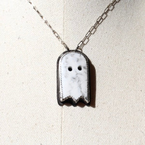 Howlite Carved Ghost & Sterling Silver Necklace