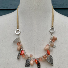 Load image into Gallery viewer, Coral Chalcedony, Quartz, and Pearl Gemstones & Adjustable Leather Sterling Charm Necklace