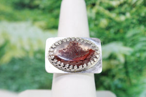 Scenic Agate (Red) & Sterling Silver Ring