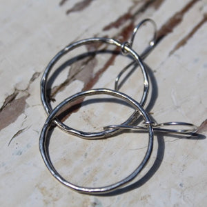 Sterling Silver Hammered Hoop Earrings w Sterling Ear Wires