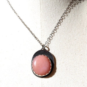 Pink Opal (Peruvian) & Sterling Silver Necklace
