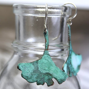 Patina Aged Copper Gingko Leaf Earrings with Sterling Silver Ear Wires