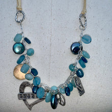 Load image into Gallery viewer, Ocean Blue Gemstones and Adjustable Leather Charm Necklace