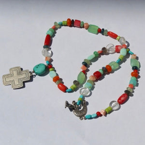 Sterling Southwest Style Cross w Multicolored Gemstone Beads