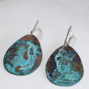 Patina Aged Copper Teardrop Earrings with Sterling Silver Ear Wires