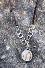 Load image into Gallery viewer, Montana Agate & Sterling Silver Necklace w Leather (Adjustable)