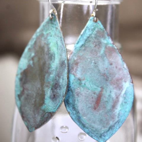 Patina Aged Brass Shield Earrings with Sterling Silver Ear Wires