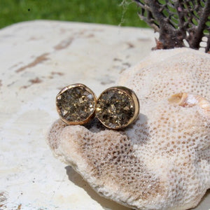 Pyrite Druzy & Gold Filled Bezel and Serling Silver Earrings (Post)