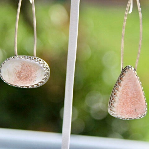 Scolecite & Sterling Silver Drop Earrings