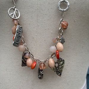 Coral Chalcedony, Quartz, and Pearl Gemstones & Adjustable Leather Sterling Charm Necklace