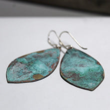 Load image into Gallery viewer, Patina Aged Brass Shield Earrings with Sterling Silver Ear Wires