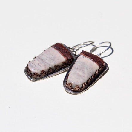 Porcelain Jasper & Sterling Silver Earrings, Copper Bezel, & Sterling Ear Wires