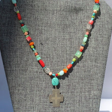 Load image into Gallery viewer, Sterling Southwest Style Cross w Multicolored Gemstone Beads