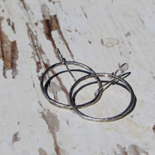 Load image into Gallery viewer, Sterling Silver Hammered Hoop Earrings w Sterling Ear Wires