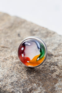 Hand Blown Glass Rainbow Swirl Sterling Cocktail Ring