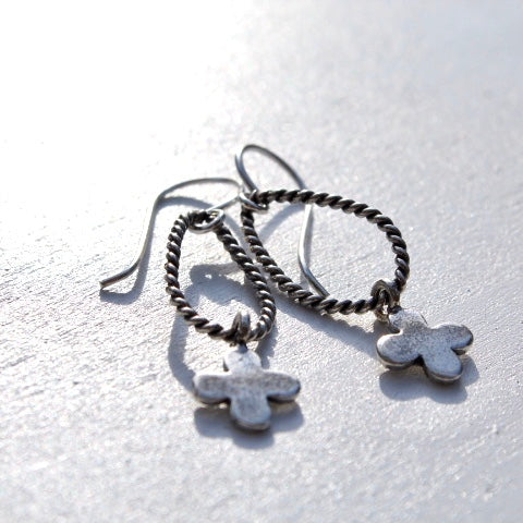 Twisted Wire & Hill Tribe Silver Charms Earrings