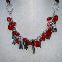 Load image into Gallery viewer, Coral (Red) Leather Adjustable Length Charm Necklace