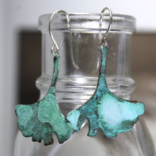 Load image into Gallery viewer, Patina Aged Copper Gingko Leaf Earrings with Sterling Silver Ear Wires