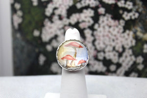 Handpainted Mushroom & Sterling Silver RIng