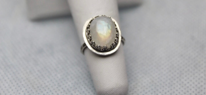 Rainbow Moonstone & Sterling Siver Ring