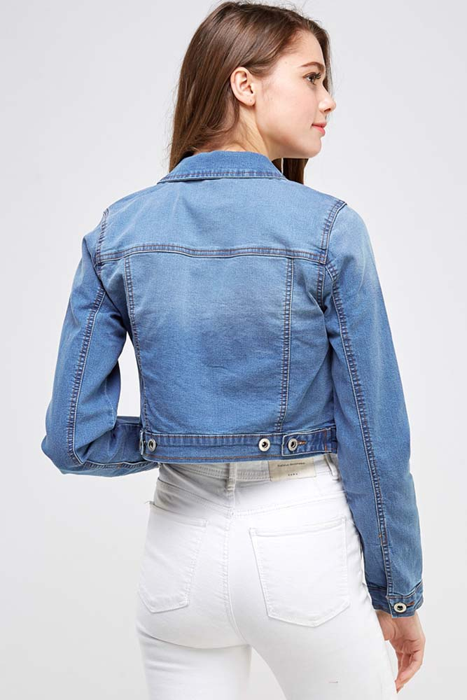 Load image into Gallery viewer, Cropped Stretch Denim Jacket