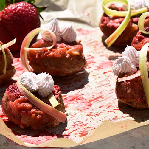 Strawberry-Rhubarb Upside Down Mini Cakes