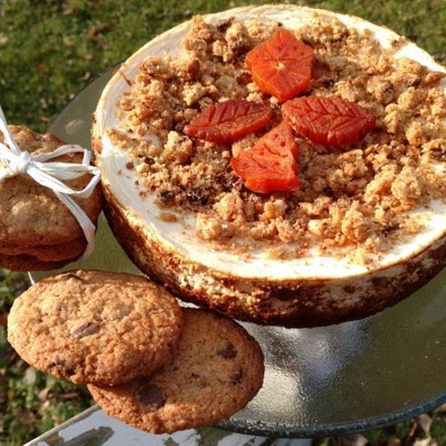 Chocolate Chip Cookie Cheesecake with Persimmon Ornaments