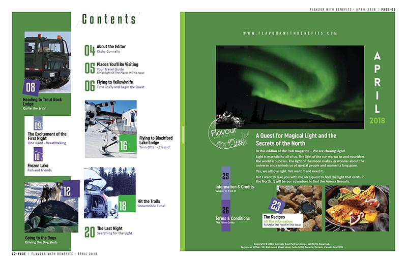 April 2018 - Flavour with Benefits Magazine - A Glimpse of Northern Lights