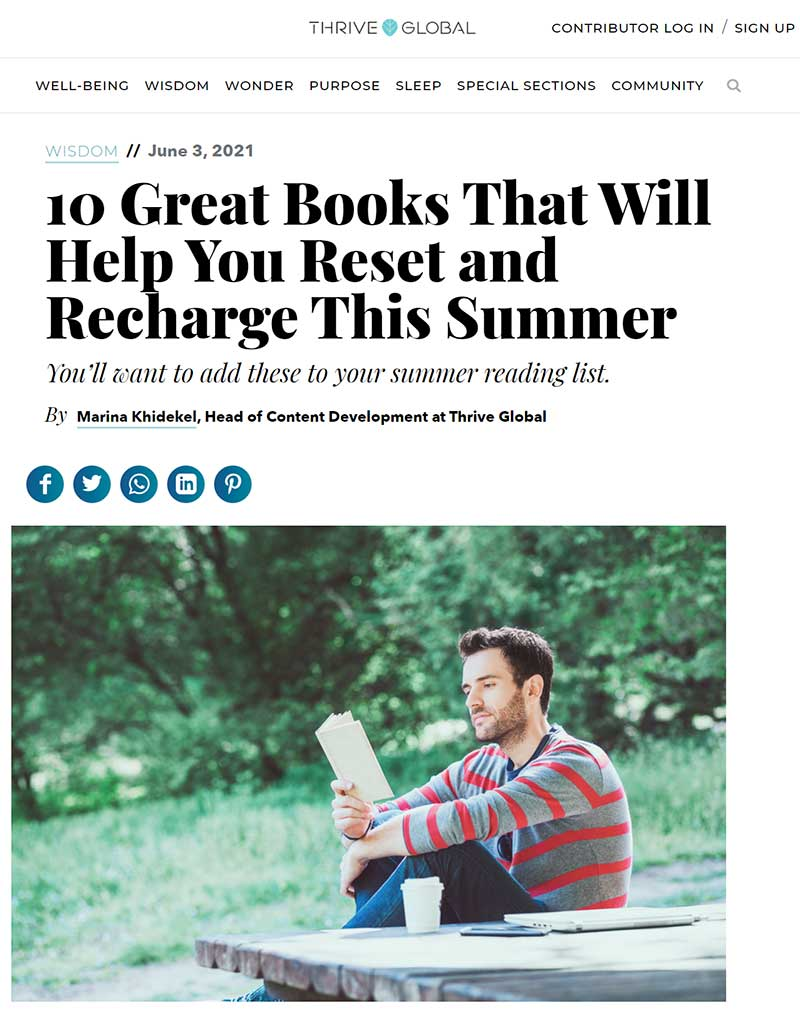Flavour with Benefits - Thrive Global Blog - 10 Great Books That Will Help You Reset and Recharge This Summer