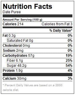Date Puree Nutritional Facts