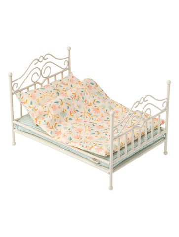 Maileg Micro Vintage Metal Bed in soft sand