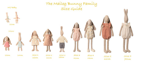 maileg rabbit and bunny sizes