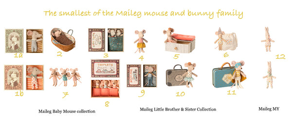 Maileg Baby Mouse | Little Brother & Sister| MY Rabbit Collection