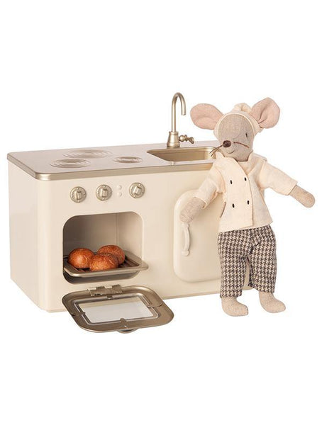 Maileg Miniature Metal Kitchen Play Set with chef. (11-0101-00)
