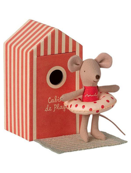 Maileg Beach Mouse - Little Sister in Cabin de Plage