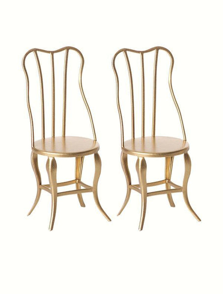 Maileg Micro Vintage Gold Metal Chairs x 2 (9cm)