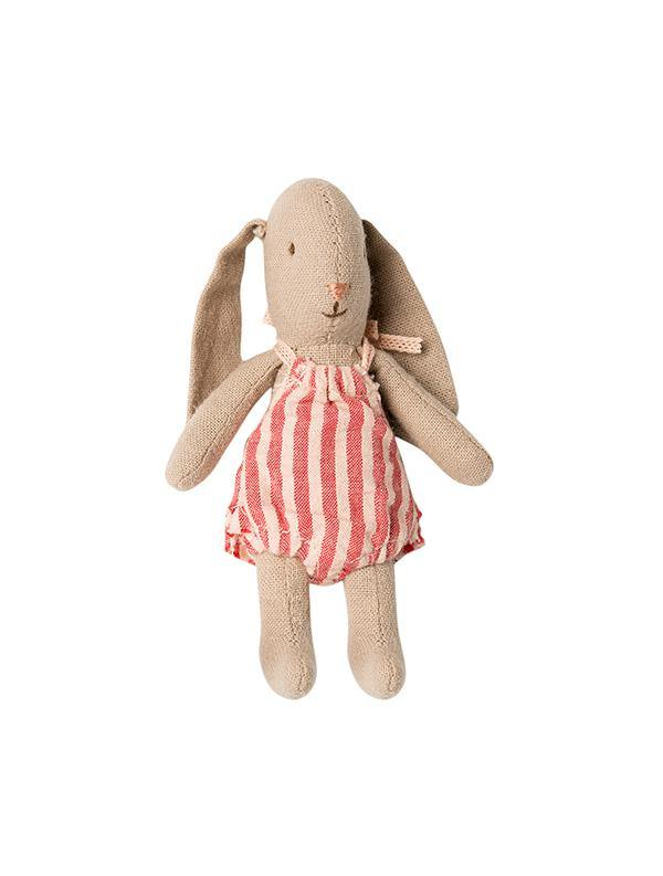 Maileg Micro Baby Bunny With Red Stripe Romper