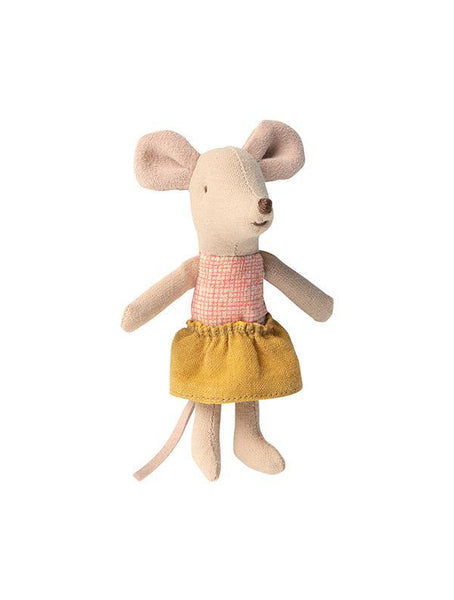 Maileg Little Sister Mouse in Matchbox With Yellow Skirt (16-0722-01) Mouse