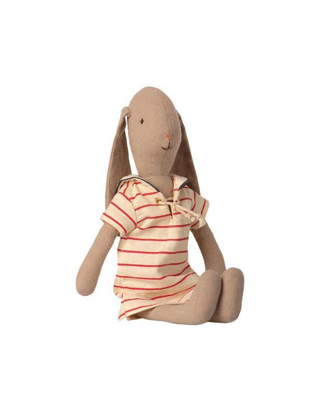 Maileg Bunny Size 2 in striped dress (26cm) (16-1200-00) Sitting