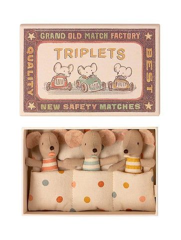 Maileg Baby Mice, Triplets in a Matchbox (16-1710-01)