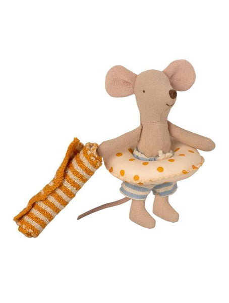 Maileg Beach Mouse - Little Brother with float and towel (16-1722-01)