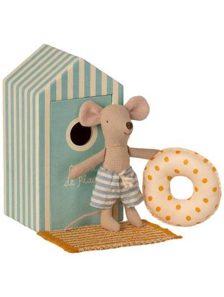 Maileg Beach Mouse - Little Brother and Cabin de Plage, float and towel (16-1722-01)