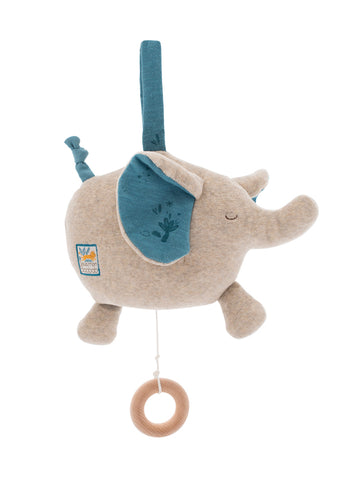 Moulin Roty Sous Mon Baobab Musical Elephant Soft Toy