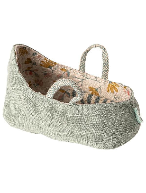 Maileg MY Baby Mouse Carry Cot - Dusty Green (11-9403-01)