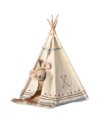 16-9724-01 Maileg Little Feather Little Sister Mouse with Tent