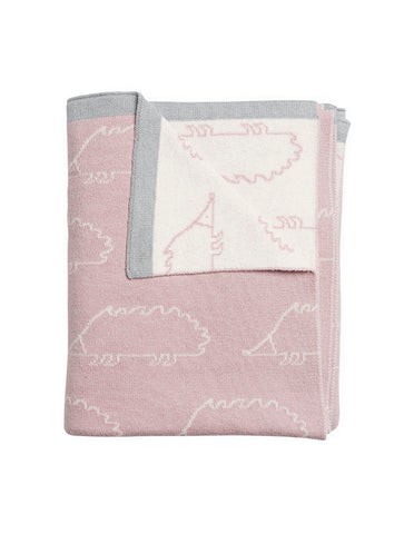 Sophie Allport Woodland Party Pink Hedgehog Cotton Baby Blanket