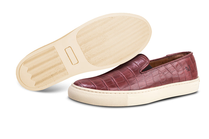 Slip On Croco Burgundy
